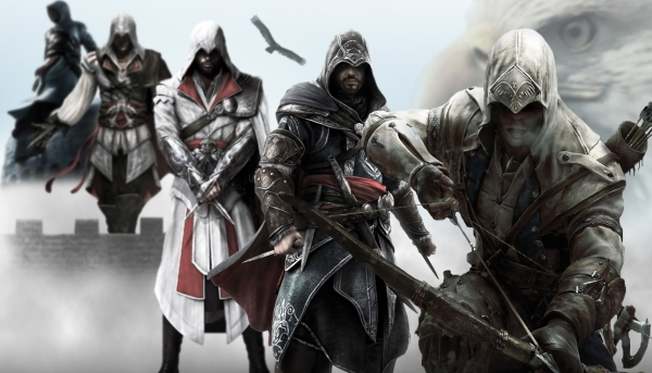 From Altair's sense of honor (top left); to Ezio's quest for revenge, justice, and answers; and finally to Connor's fight for freedom (bottom right), the story of Assassins Creed has spanned over 600 years.
