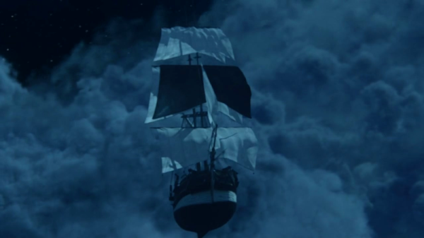 With a dark sail powered by Pan's Shadow, the Jollyroger is able to sail between different realms.