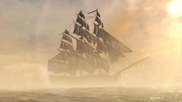 Out of the mists, this ghost-like ship appears demonstrating otherworldly speed.