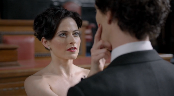 Irene Addler makes a brief cameo in this episode, clearly still very much on Sherlock's mind.