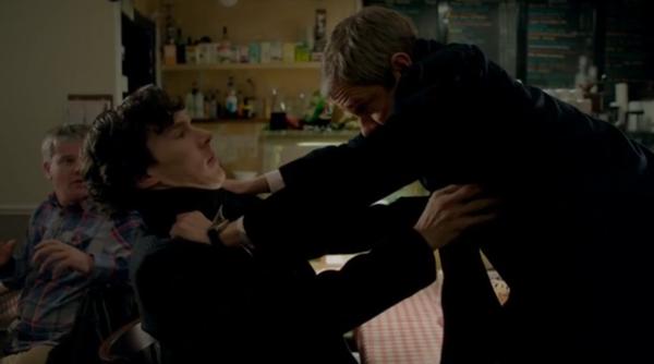 John chokes Sherlock