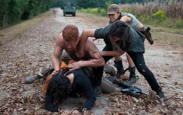 During the scuffle between Glenn and Abraham, one character is noticeably absent.