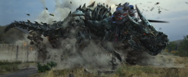Grimlock emerges in all of his power and glory. Thank Primus he's one of the good guys!