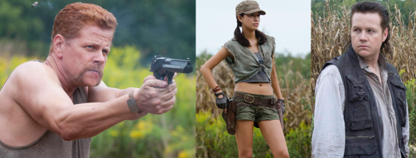 (From LEft to Right) Abraham Ford, Rosita, and Eugene