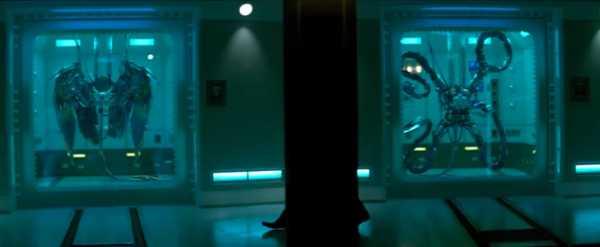 Vulture's wings (left) and doctor Octopus' arms (right) can clearly be seen in this scene from the trailer.