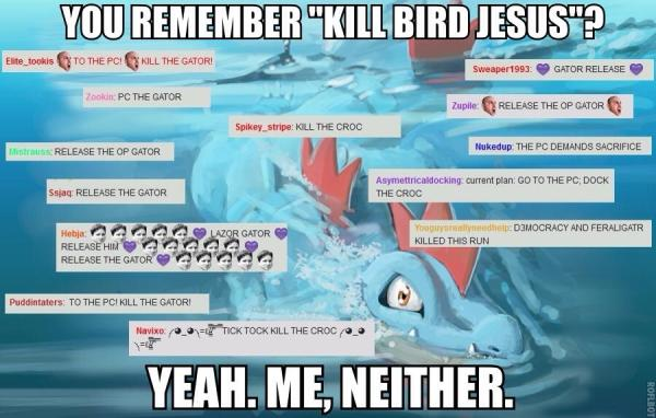 Our last strong Pokemon was hailed as Bird-Jesus and no one called for his release. Feraligatr was not so lucky and received a lot of spammers calling for his release.