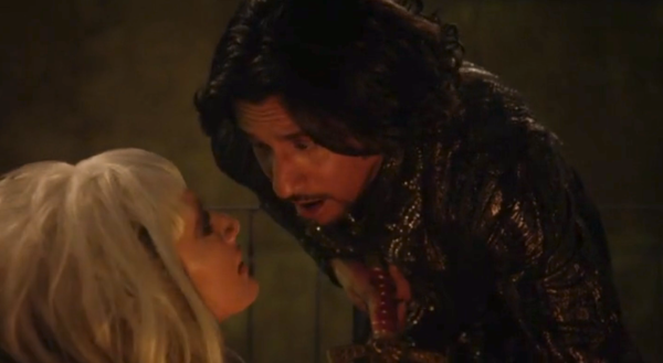 Even with her weakness in hand, Jafar is powerless to protect himself from the Jabberwock's power