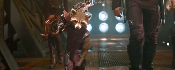 Yes, that is Rocket Raccoon… 'fixing himself'.
