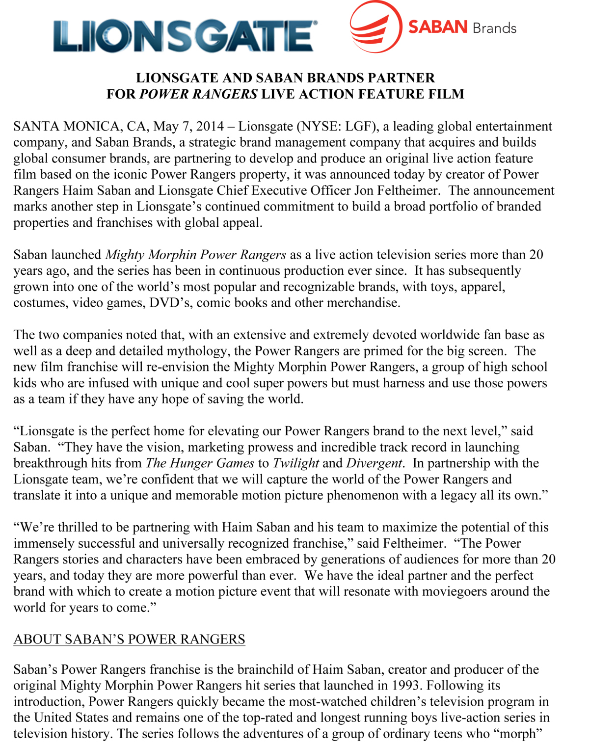 microsoft word lionsgate saban press release docx the