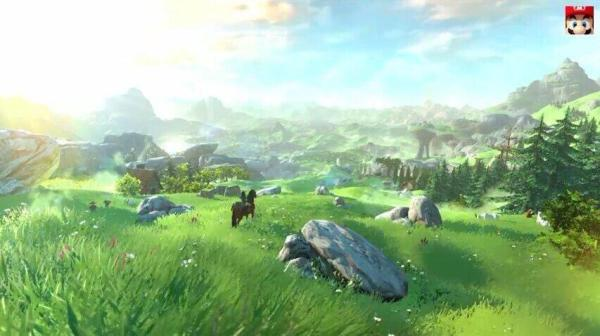 The world in the new Legend of Zelda game is completely explorable. Even those mountains in the background - if you ride for long enough