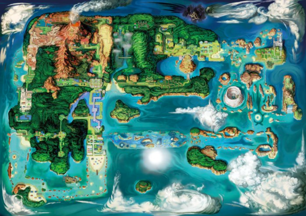 I wonder if that darkish area up top is stylistic or will hide a legendary Pokemon such as Darkrai or Giratina