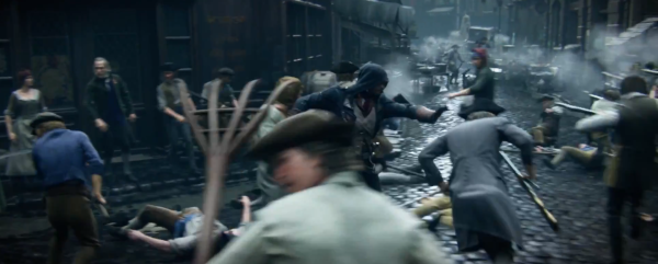 Arno swiftly pushes his way through an active battlefield to find a better way across