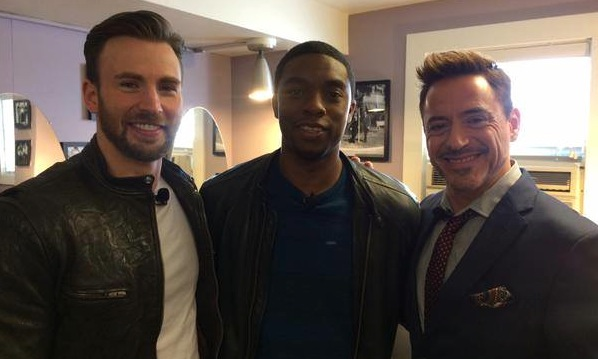Chris Evans, Chadwick Boseman and Robert Downey Jr