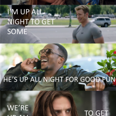 We're up all night to get Bucky - Marvel Memes