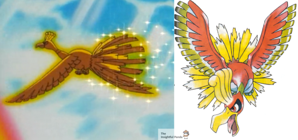 Ho-Oh's first anime appearance compared to his first 'Image Reveal' in the game. Notice the coloration change. Even in later depictions, the gold was only a slight aura rather than an all encompassing glow.