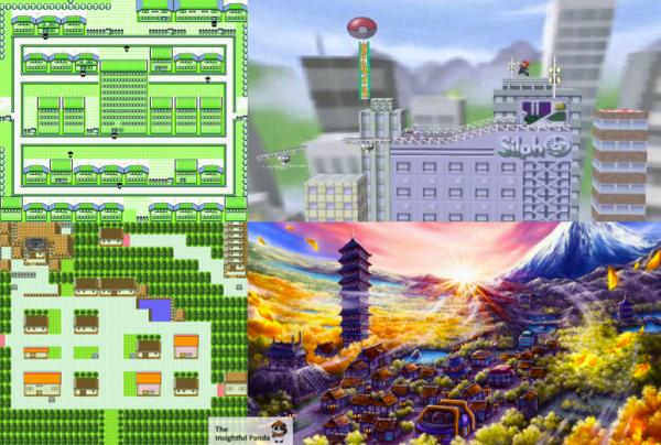 Kanto's Saffron City (Top) compared to Johto's Ecruteak City (Bottom)