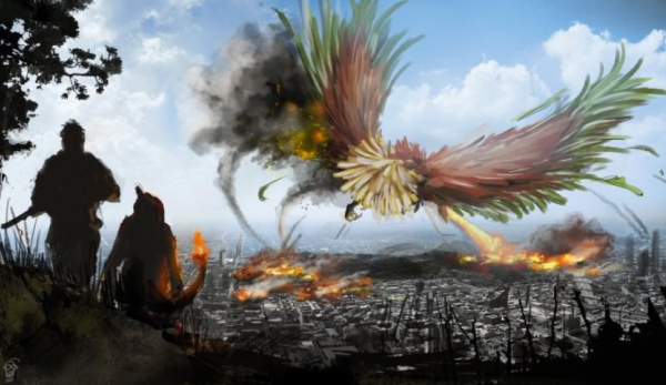 It's unsure whether or not Legendary  Pokémon took part in the war, but this awesome Fan Art depicts what Ho-Oh attacking a Kanto city could look like