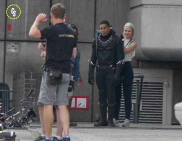 On the set of Captain America, Chadwick Boseman plays the Black Panther
