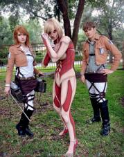"Alyson flanked by her sister Madison and her brother Michael - just in case she gets too ""into character"" in this Attack on Titan group Cosplay"