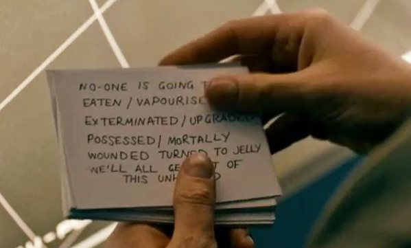 What_was_written_on_the_Doctor_s_prompt_cards_in_Doctor_Who_Under_the_Lake_