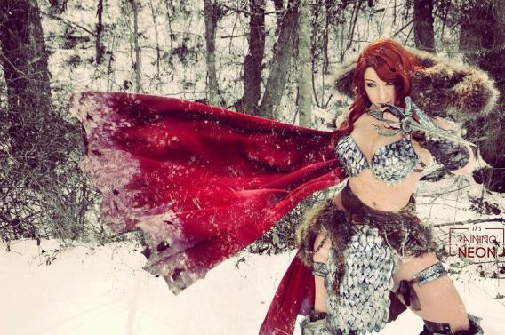 It's Raining Neon Red Sonja Cosplay